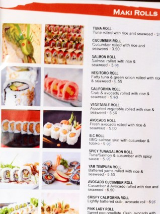 Kanpai's maki rolls menu