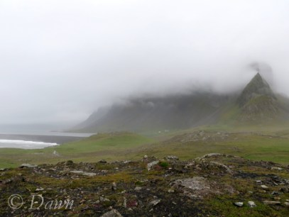Misty mountains near Djúpivogur