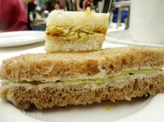 Cucumber and chicken sandwiches at the Butchart's Afternoon Tea