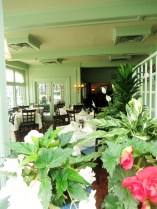 Flowers throughout the dining room at the Butchart's Afternoon Tea