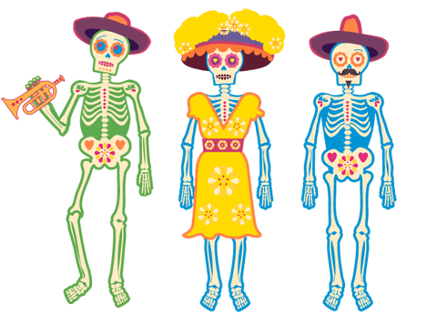 3 day of the dead skeletons