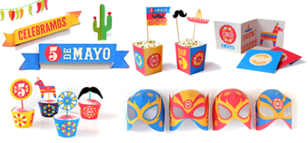 cinco de mayo printable paper craft kit somberos mexican themed decorations