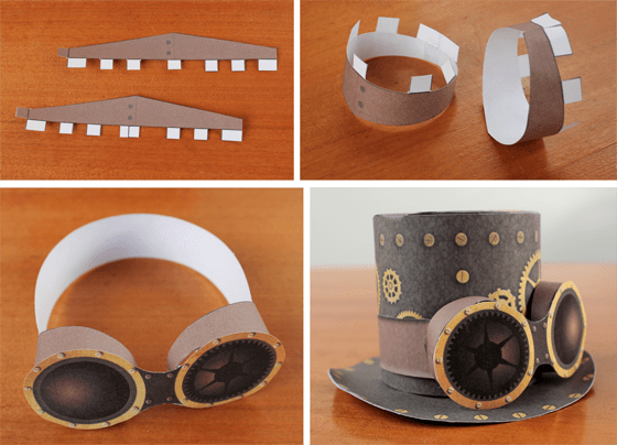 Steampunk paper craft goggles for you Steampunk printable hat template!