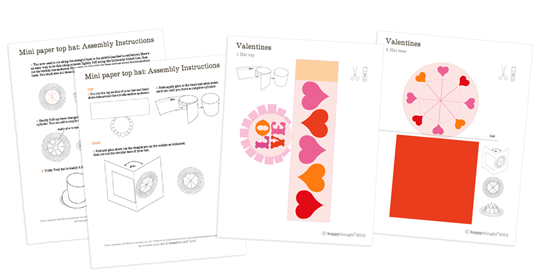 template pages to make a paper st valentines top hat
