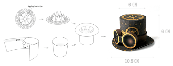 Steam punk mini top hats made from paper for parties and celebrations!