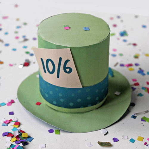 mad hatter hat green with label mini printable paper top hat