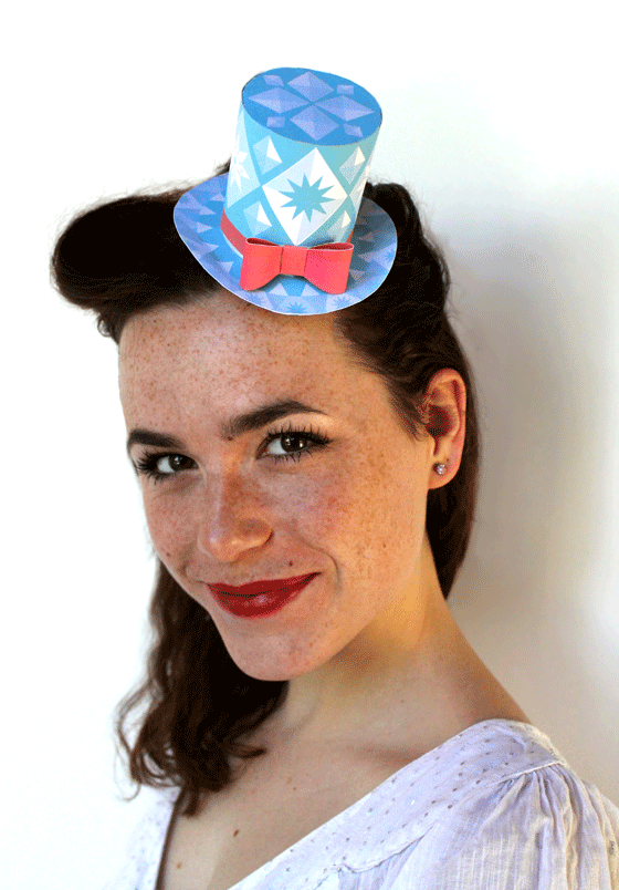 Ice blue diamonds: Festive paper party hats for Christmas parties!