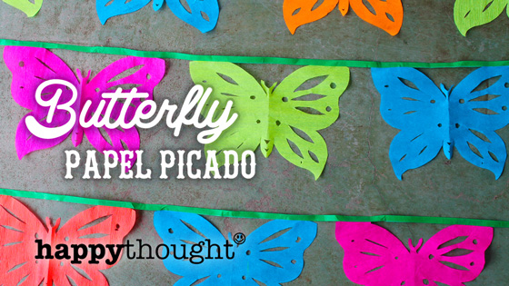 butterfly papel picado decoration for fiestas and parties