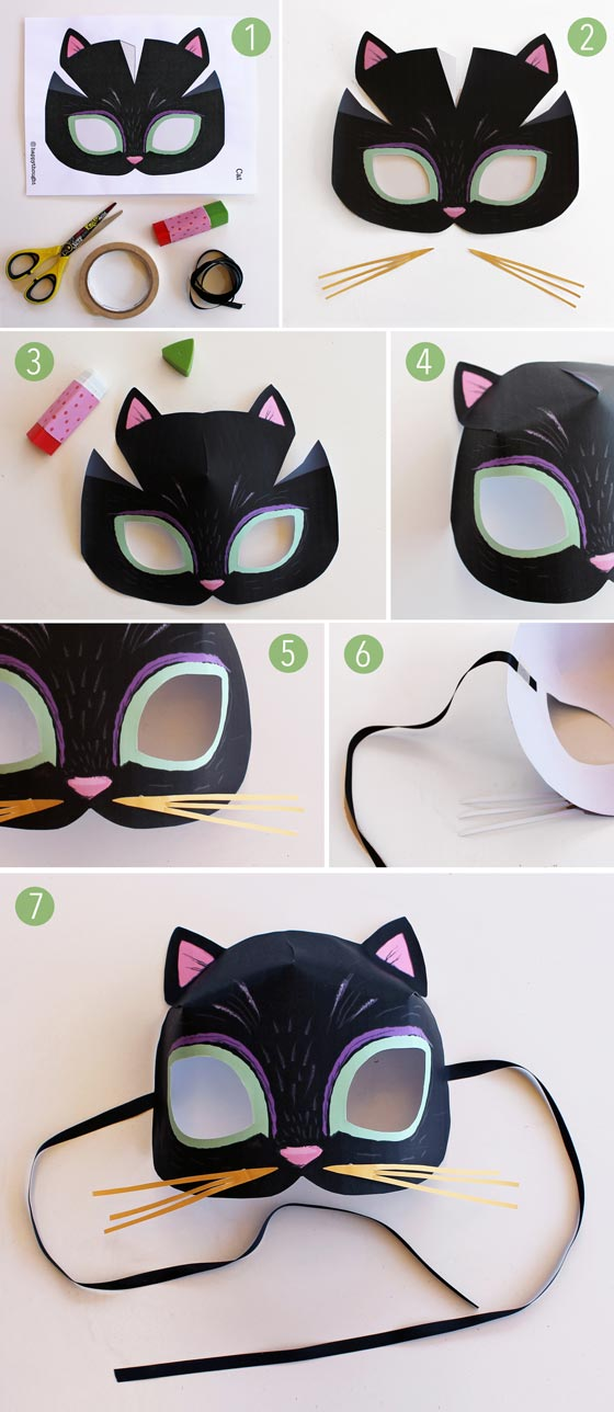 Animal mask templates to print and play: Meow! Cat ...