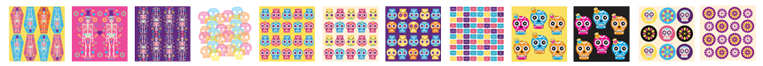 12 brand new day of the dead scrapbooking digital papers designs and templates