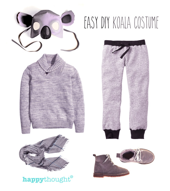 Easy to throw together koala costume with koala mask!