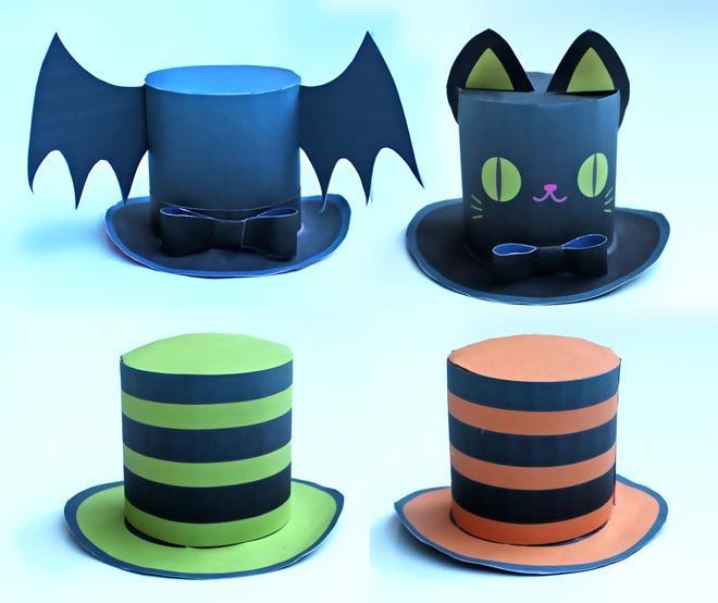 Cute Halloween Mini Top Hat; 4 DIY Printable. Easy To Make