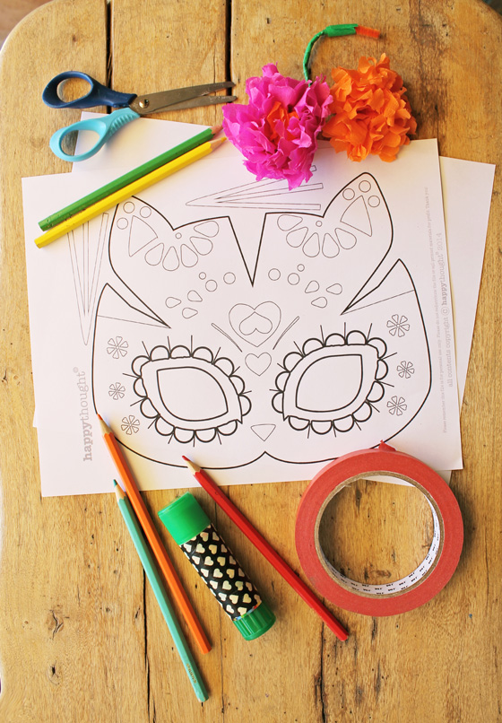 Easy make cat calavera mask template for el Dia los Muertos or Day of the Dead.