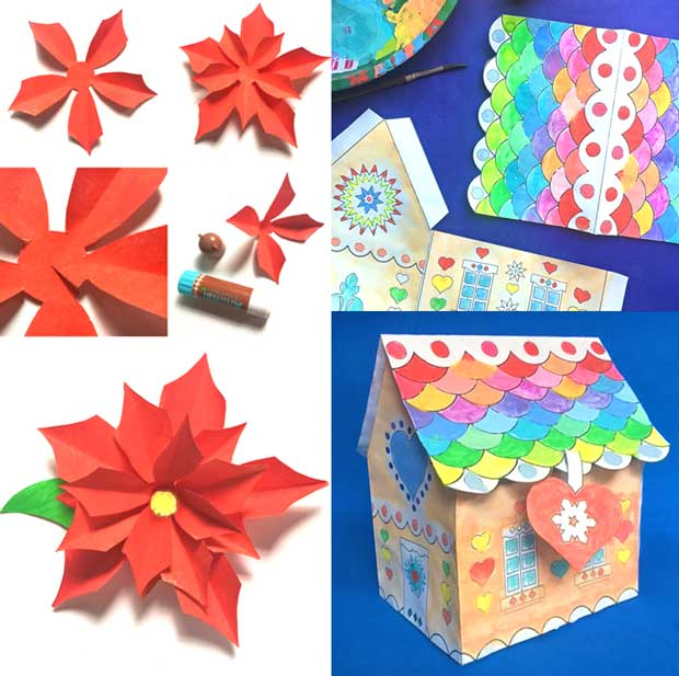 Make Paper Poinsettias and a Gingerbread gift box: Christmas festive DIY craft activities for class and homeschool