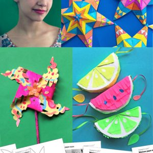 Cinco de Mayo Holiday craft activity worksheets: Papel picado, pinatas, paper stars and flowers!