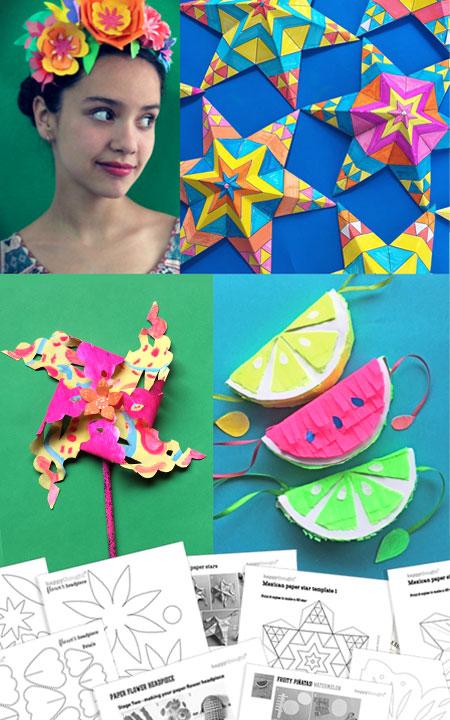 Cinco de Mayo Holiday craft activity worksheets: Papel picado, pinatas, paper stars and flowers!
