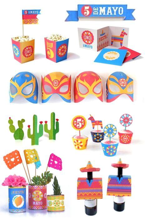 Cinco de Mayo printable crafts DIY party templates