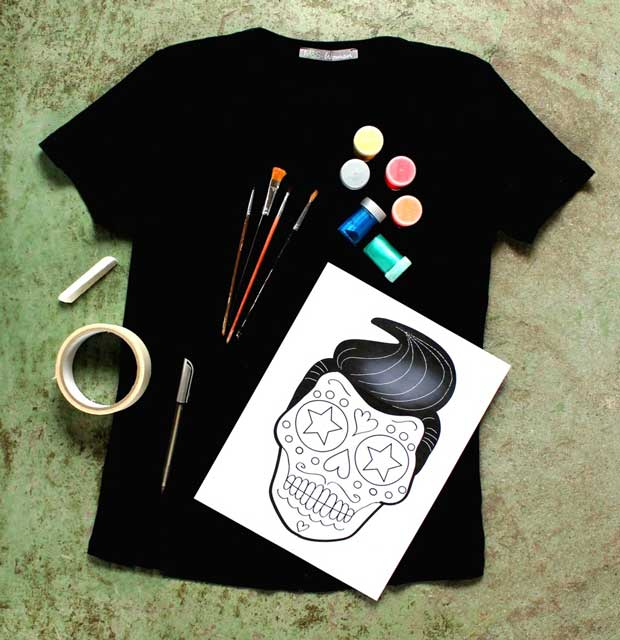 DIY painted Day of the Dead Calavera sugar skull design on a T-shirt: You will need