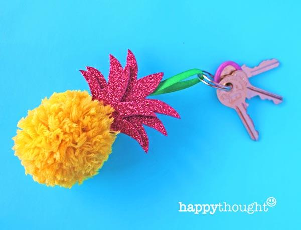 Pom-pom craft activity: DIY pineapple homemade craft project: Key ring decoration