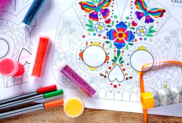 How to make a Day of the Dead calavera colour in mask templates and instructions DIY