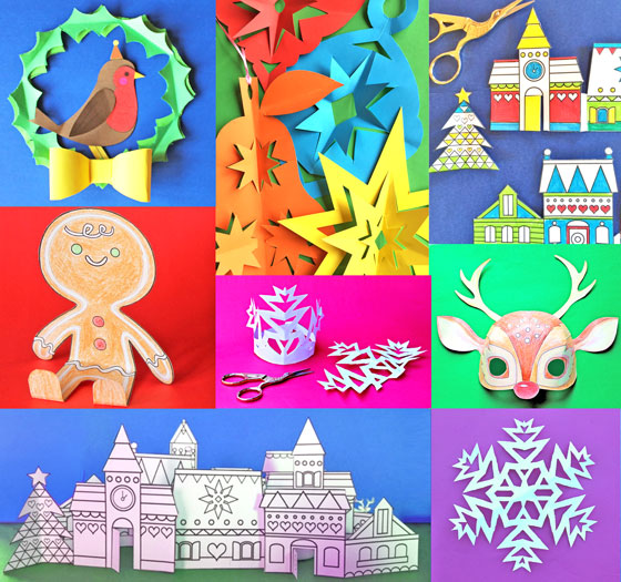 Snowflake crowns 3 festive paper craft headpiece templates for Printable christmas craft ideas