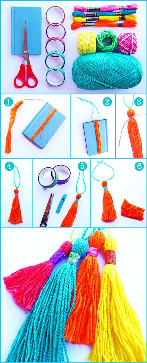 How to make a yarn tassel using scissors and yarn