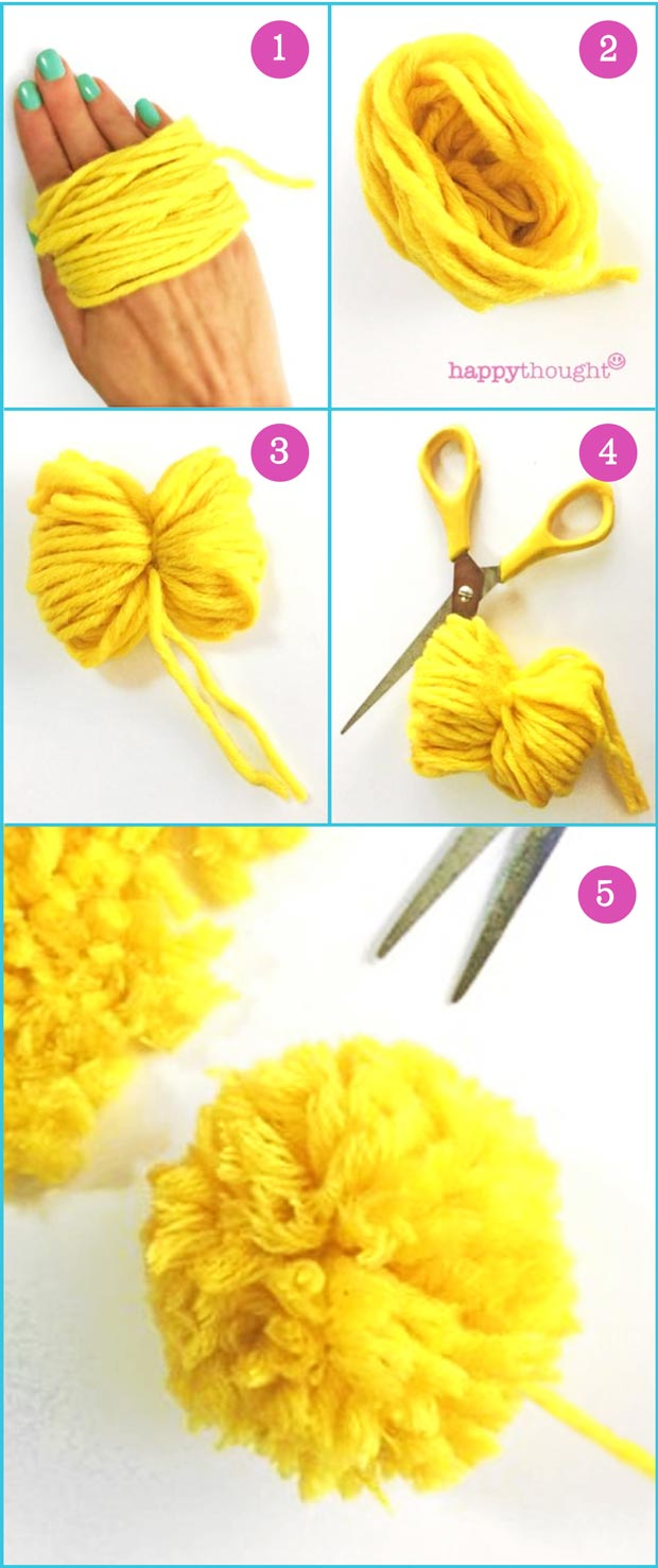 How to make an easy DIY pom-pom using scissors and wool