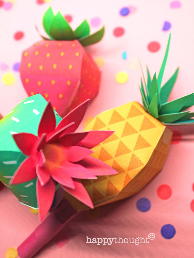 How to make fruit maracas; Pineapple, prickly pear and a strawberry