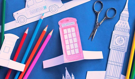 Color-in London town worksheets and printables of famous English Landmarks and characters!