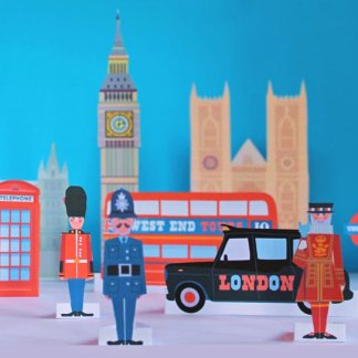 London papercraft printable activity worksheets: Easy learning about some of Londons famous sights and traditions.