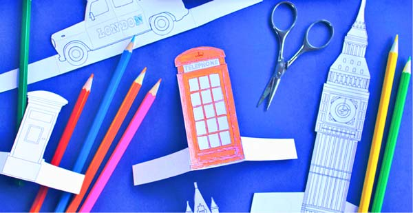 Red London phone box paper craft color in activity for class - Learn a little about London