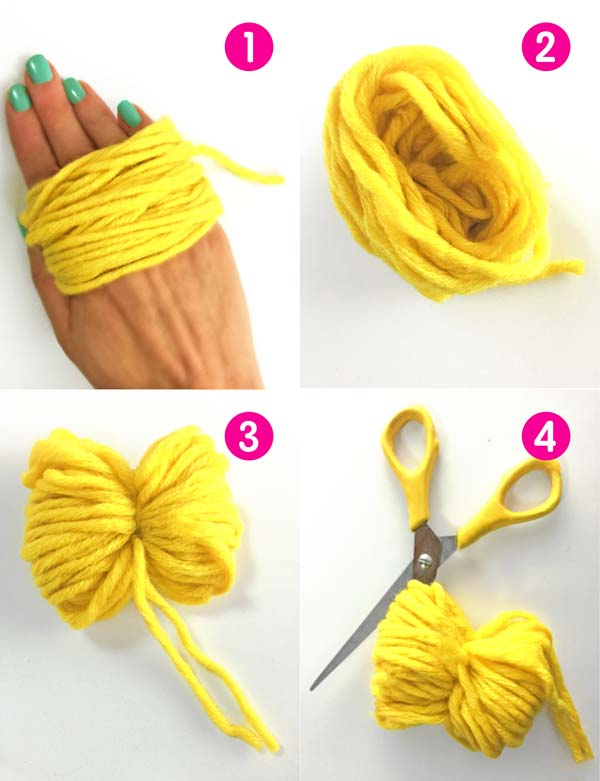 Craft activity: Make a yellow pineapple pompom art project step-by-step instructions