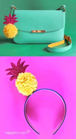 Pineapple pompom classroom art idea step-by-step instructions homeschool activity