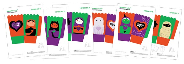 Spooky Halloween papercraft pack Russian Doll Popcorn boxes!