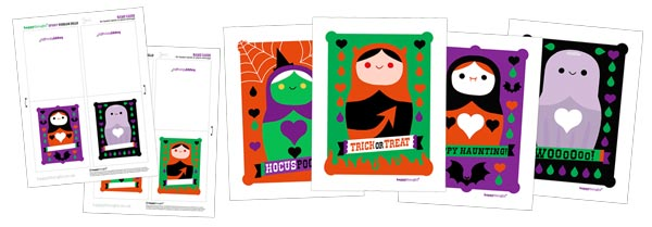 Posters and cards for Halloween. Print at home instantly!