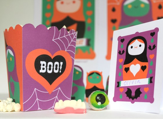 Spooky Halloween paper craft party. Homemade party decoration templates, ideas, patterns and cutouts