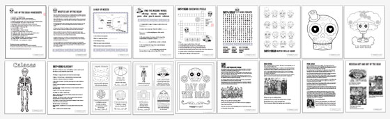 Dia de los Muertos worksheets: 18 PDF printable kids activities about Dia de los Muertos!