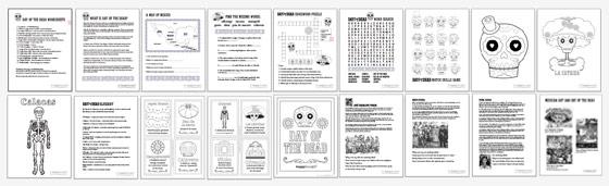 Perfect Dia De Los Muertos Worksheets: 18 PDF Printable Kids Activities About Dia  De Los Muertos