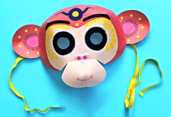 Chinese New Year Monkey Mask Template Cutout And Easy Instructions  Free Mask Templates