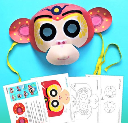 Chinese new year monkey mask free to members 2016 template and instructions!