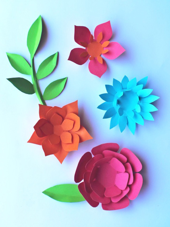 DIY paper flowers pattern, paper feathers + paper leaves!