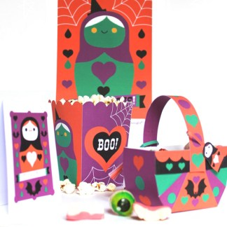 Spooky Halloween papercraft printable party ideas, templates, favors and decoration templates and patterns