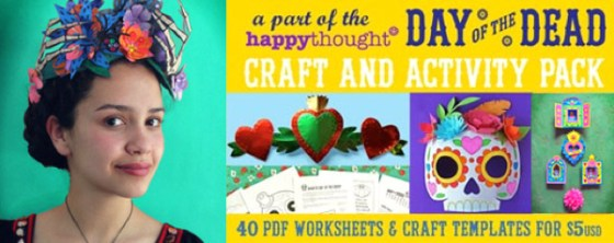 Make this Frida Kahlo inspired flower and skeleton hand crown for Dia de los Muertos. Day of the Dead paper flower crown, ideal for costume and dress up!