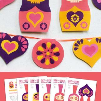 How to make a Day of the Dead Russian garland paper craft
