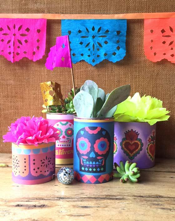 Dia de los Muertos, Day of the Dead centerpiece - Calaveras, hearts + papel picado!