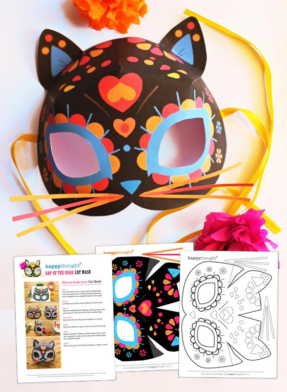 cat calavera mask template for day of the dead dress up parties