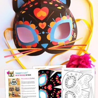 Day of the Dead cat mask template to print, cut and wear!