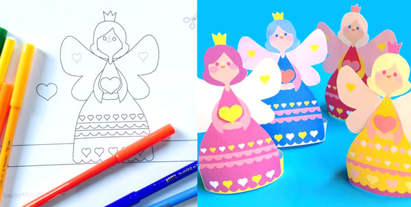 Fairy cards to give to a Valentines Day: Color in craft activities!