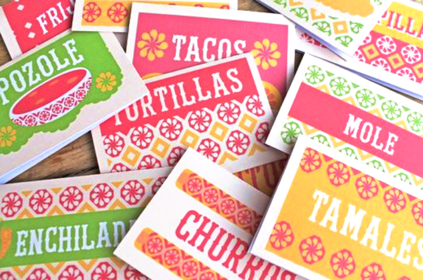 Printable Mexican food signs for a fiesta!