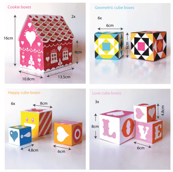 Ideas for gift boxes - Cookie, Geometric, happy cubes and love cube templates!